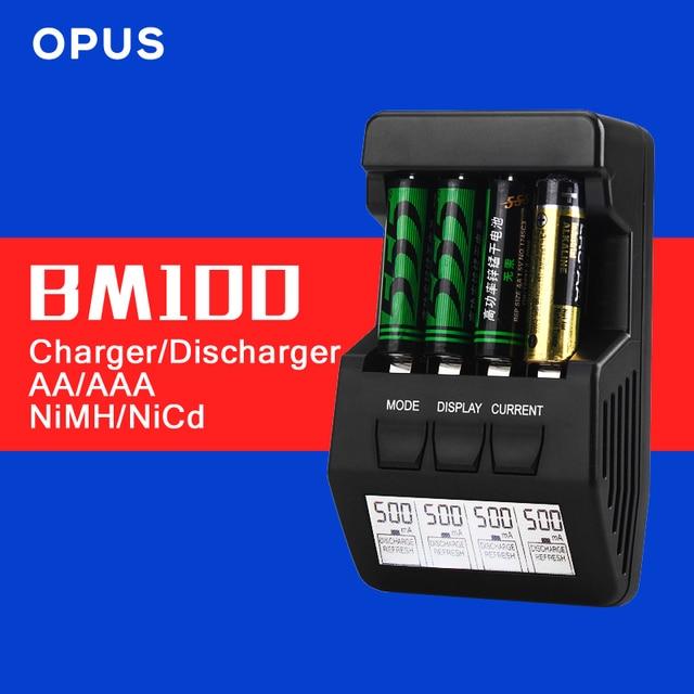 Bm100 opus originais display lcd de 4 slot de carregador de bateria inteligente para aa aaa ni-mh ni-cd bateria recarregável livre grátis