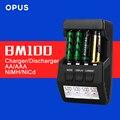 Original opus bm100 pantalla lcd 4 ranura inteligente cargador de batería para aa aaa ni-mh ni-cd batería recargable libre gratis