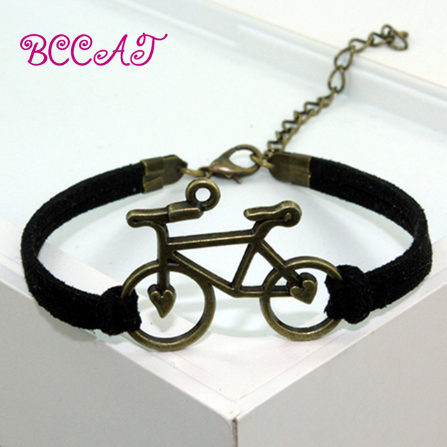 Bccat Jewelry Vintage Leather Rope Bicycle Charm Bracelet Personal Handmade Chain Bike Wrap Cuff