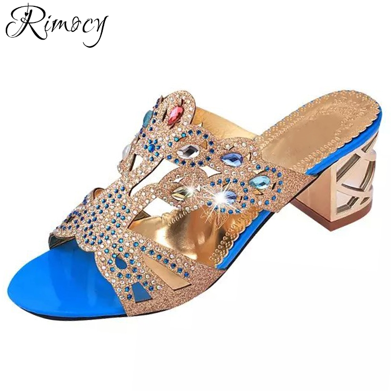 cabda93664860 Rimocy women casual beach crystal flip flops fashion 2018 thick high heels  shinning rhinestone summer shoes woman sandals slides-in High Heels from  Shoes on ...