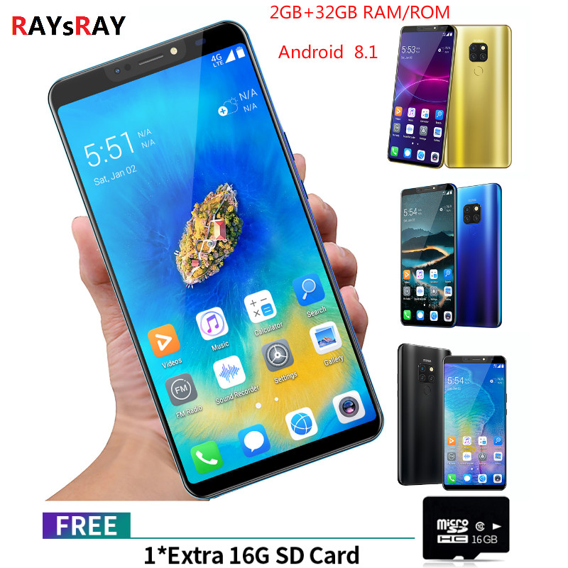 Raysray mate20 pro 3G LTE téléphone portable 6.1 & quot 2 GB RAM 32 GB ROM Octa Core téléphone portable caméra Android 8.1 empreinte digitale téléphone intelligent