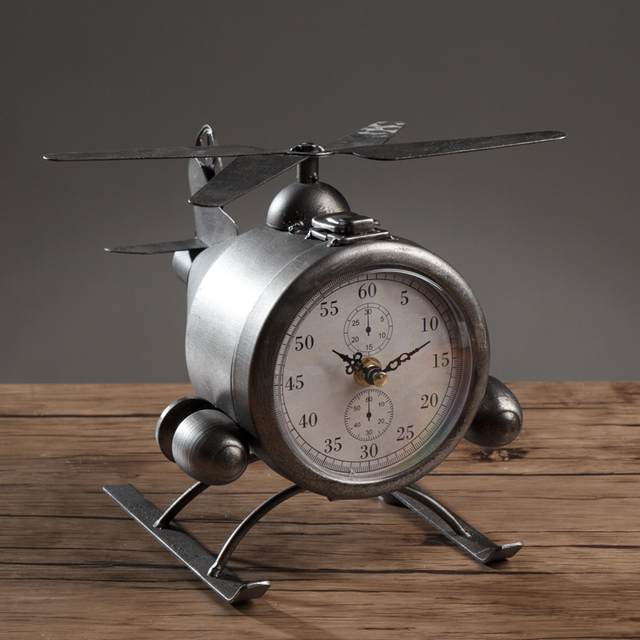 Metal Retro Table Aircraft Clock The DIY Household Decor Airplane Desk Seat Clock And Wine Bar Clothes Shop Decor Retro Clock