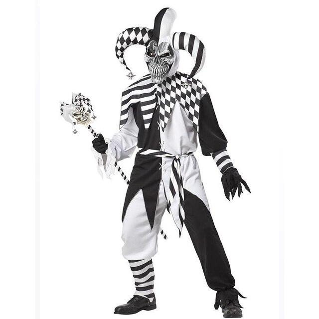 New California Costumes Nobody's Fool Hood Costume Men's Adult No Cheating Evil Jester Costumes Skelet Nar Halloween Man Kostuum
