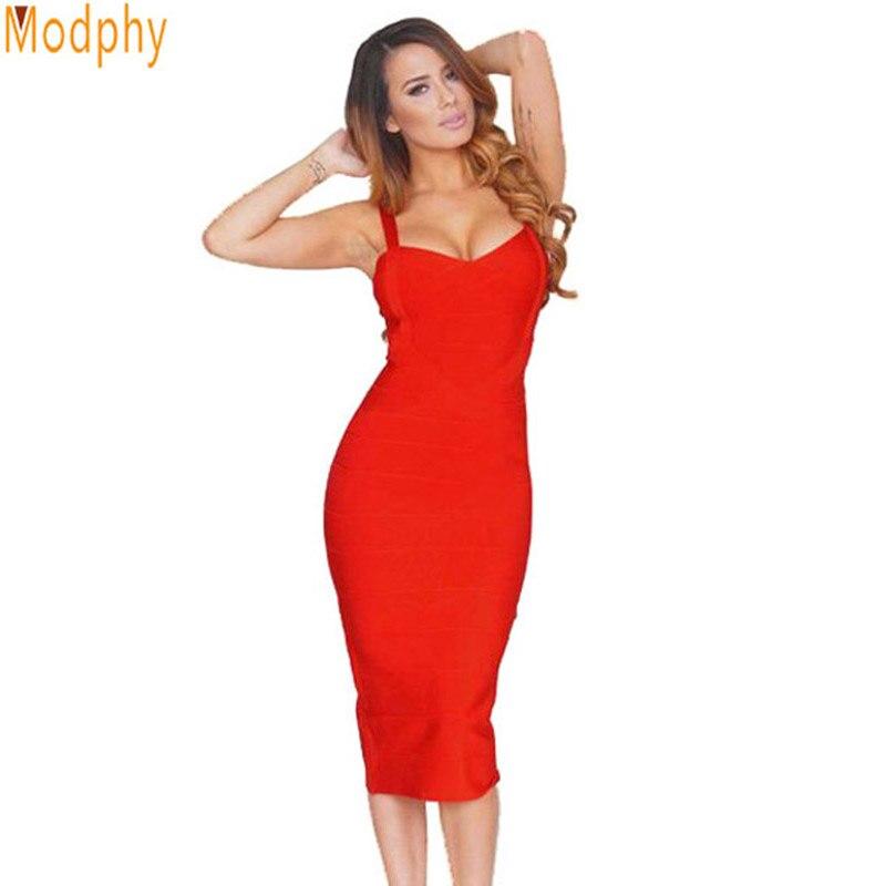 yeni 2018 qadın sexy ünlü midi qırmızı ağ hl elastik sarğı paltar spagetti kəmər klubu bodycon party geyim Topdan HL434