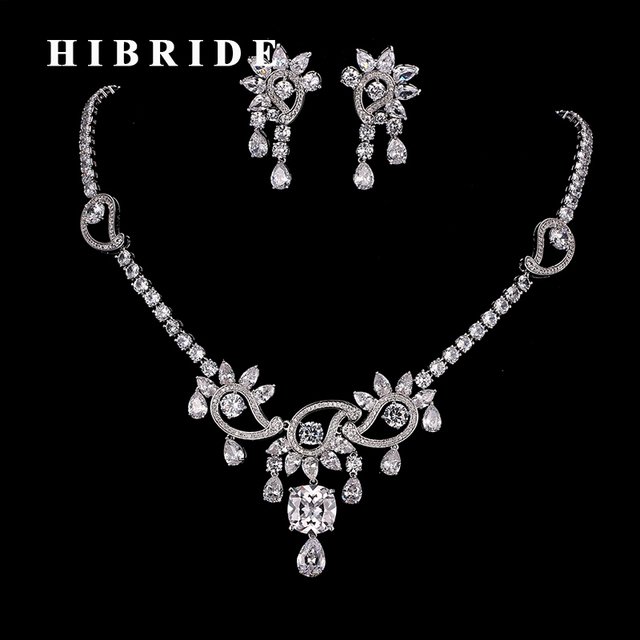 97441fae6a1 HIBRIDE Hot Sparking Brilliant Cubic Zircon Necklace And Earrings Women  Bridal Heavy Dinner Jewelry Set Dress Accessories N-179