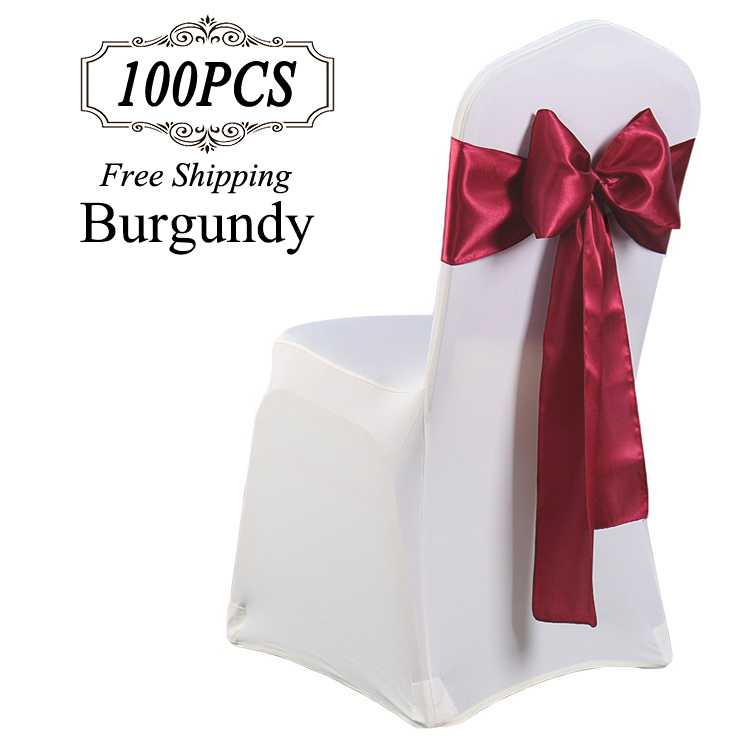 Factory Wholesal Satin Chair Sashes Light Blue Chair Cover Satin Sashes for Wedding Party Decoration Satin
