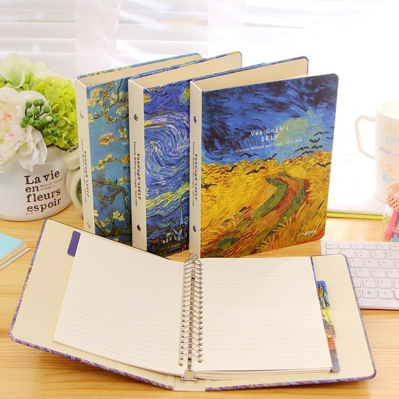 A5 Classic Spira Notebook Vintage Van Gogh Plum Blossom Rye Night Sky Diary Diary Planner Office School Supplies Birthday Gift lenwa classic van gogh series notebook a6 vintage business carry small portable notebook 1pcs