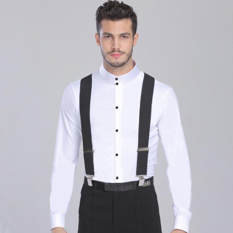 Plus Size Menu0026#39;s Latin Dance Shirt Long Sleeve Ballroom Dance Top Leisure Practice Performance ...