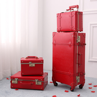 2018 new red luggage crocodile skin suitcase girls travel luggage rolling spinner TSA lock safety high quality free shipping