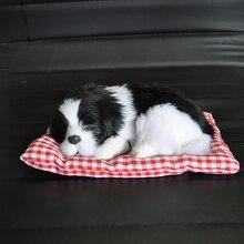 Ozdoba samochodu ABS pluszowe psy dekoracja symulacja śpiący pies zabawka Automotive Dashboard dekoracje śliczne akcesoria samochodowe
