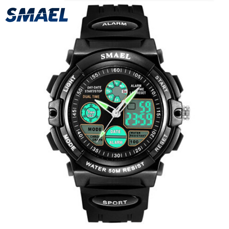 SMAEL Brand Sport Watch For Kids 50M Waterproof Shock Analog LED Digital Wristwatch Kid Clock Boys Watch Children Birthday Gift