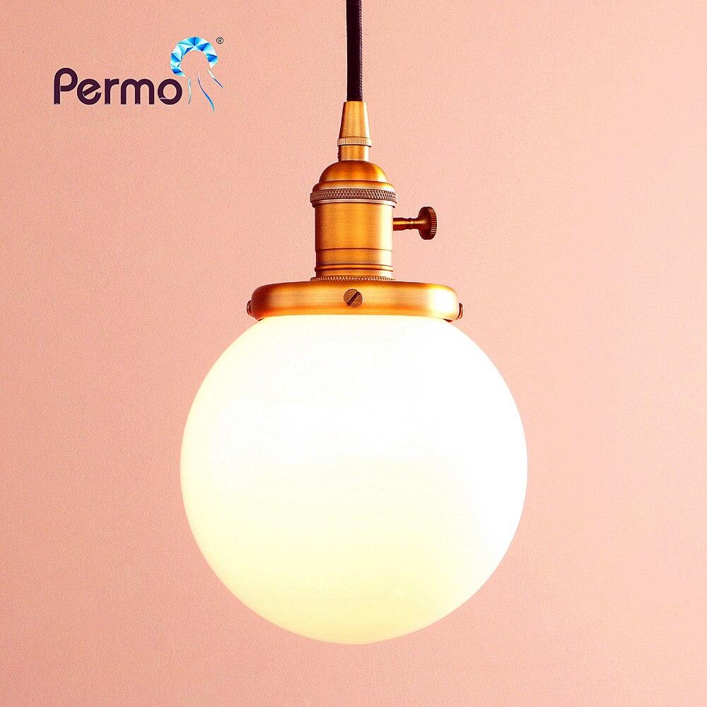 PERMO 5.9 Milk White Glass Globe Pendant Lights Vintage Pendant Ceiling Lamps Modern Hanglamp Retro Luminaire Lights FixturePERMO 5.9 Milk White Glass Globe Pendant Lights Vintage Pendant Ceiling Lamps Modern Hanglamp Retro Luminaire Lights Fixture