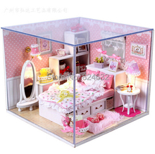 New Hand made wood DIY doll house miniature dollhouse Dream Angels princess room cabin upgradese ducational