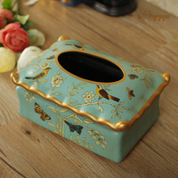 paper towel box, painted flowers and birds, ceramic paper towel box, European style garden retro paper box decoration
