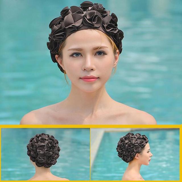 84488d169 Mulheres 36 Flores de Lírio colorido protetores de ouvido Touca de Natação  Impermeável Elástico Esportes Nadar