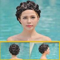 Women 36 Lily Flowers colorful Swimming Cap Waterproof Elastic ear protection Sports Swim Pool Hat Free Size long hair Cap