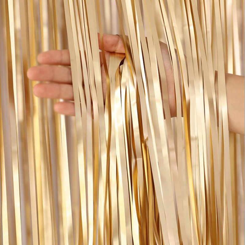 День рождения сценический фон Декор фольга занавеска с блестками полоса фольги стример фото реквизит Свадебная вечеринка украшения поставки