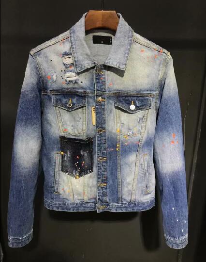 Nowych mężczyzna kurtka dżinsowa z długim rękawem dżinsy bawełniane sweter na co dzień dsq kurtka mężczyźni topy odzież X23 w Kurtki od Odzież męska na  Grupa 1