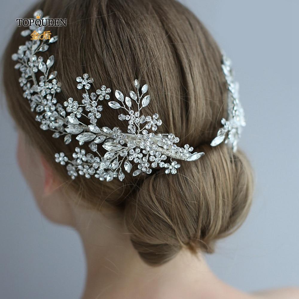 Image 2 - TOPQUEEN HP253 Luxury crystal wedding hair jewelry bridal accessories wedding hair vine clip wedding tiara Bridal headband-in Bridal Headwear from Weddings & Events