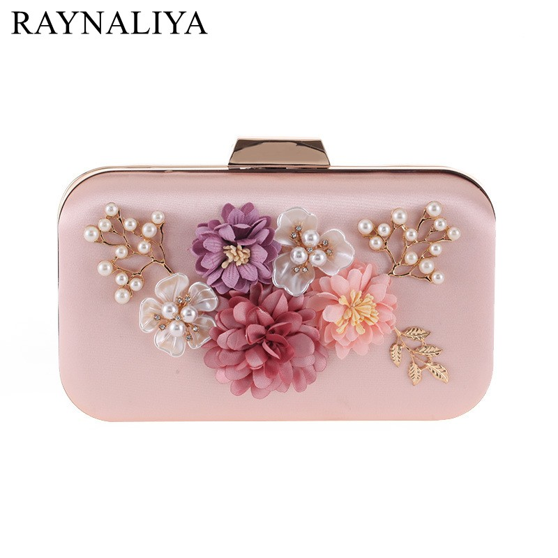 Vintage Women Bridal Floral Evening Bag Pearl Flower Beaded Clutch Purse For Party With Shoulder Chain SMYXST-E0038