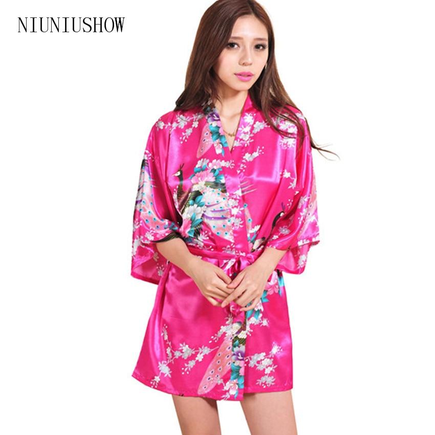 3dde35821 Promotion 2015 Hip Women Kimono Robe Obi Japanese Yukata Geisha Dress Sexy  Lingerie Rayon Nightgown Sleepwear Bathrobe 14 Colors