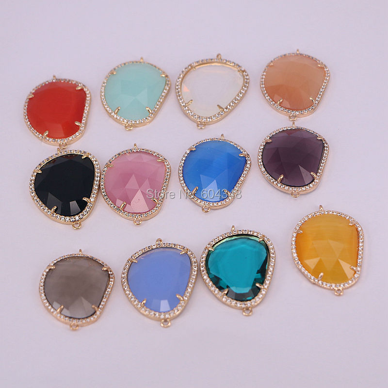 10pcs ZYZ-3437 Mix Color Glass Stones Connector Pendant, Faceted Crystal Rhinestones, CZ Pave Frame Connector, Jewelry Findings