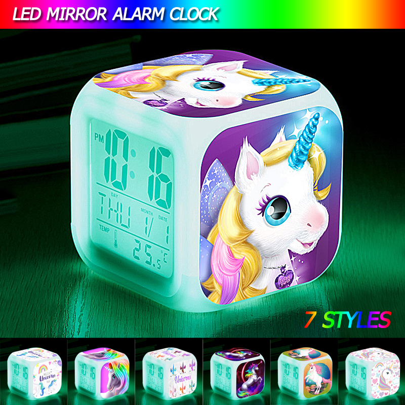 Cartoon Unicorn Alarm Clock Led Digital Alarm Clocks Child Kids Student  Desk Clock 7 Color Changing Night Light Thermometer Gift