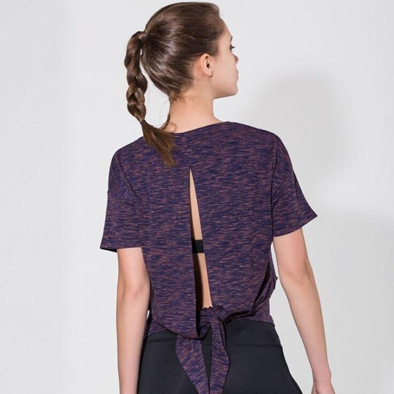 Women Quick Dry Sport Shirt Open Back Top Yoga Shirt Short