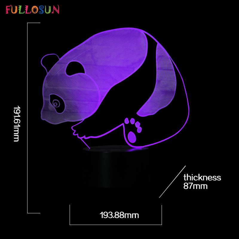 Cutely 3D LED Panda Lamp 3D 7 Colors Night Lights LED Flashing Table Lamp USB Touch Lights as Home Decorations