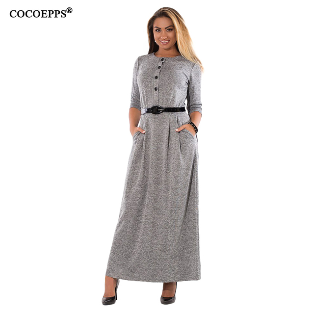 4f388a898d8 2017 Loose Big Size Winter Long Dresses Autumn Women Plus Size Clothing  Vintage Maxi Dress 5XL 6XL Large Size Lady Warm Vestidos-in Dresses from  Women s ...