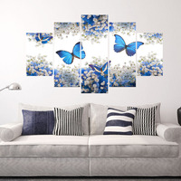 High Quality 5 Piece Canvas Print Paintings Picture Butterfly Printed Framedless For Wall And Home Decoration