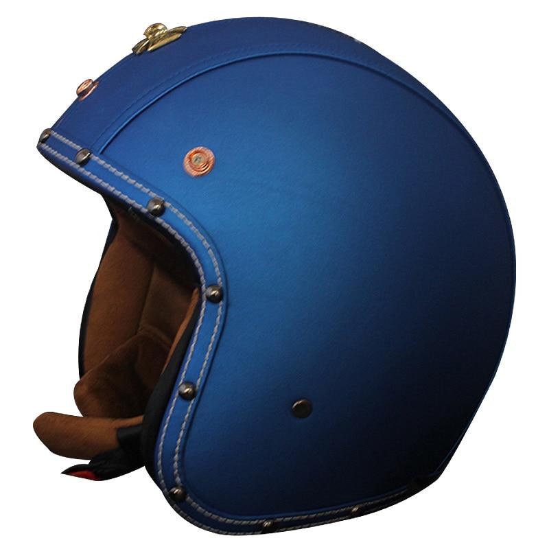 Vcoros PU leather vintage motorcycle helmet 3/4 open face Harley Retro moto Helmets half face scooter jet vespa helmet M L XL