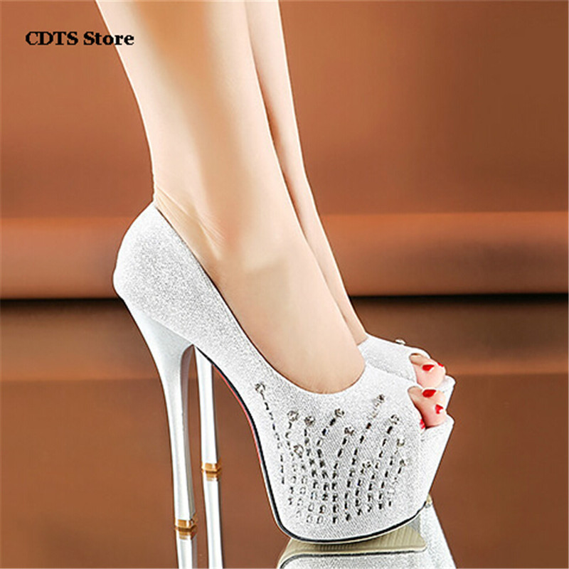 Party queen 2016 Peep Toe 15cm thin high heels sexy red bottoms pumps women's rhinestone wedding shoes Summer sandals zapatos summer peep toe zapatos mujer sandals 15cm thin high heels platform sexy woman shoes wedding pumps dance shoes