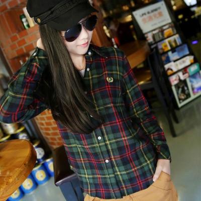 2016 Hot Sale Women T-shirts nya 100% bomull Flannel Plaid Shirt - Damkläder - Foto 6