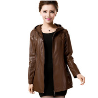 Plus Size 6XL Autumn Winter Leather Jacket Women Basic Coats Hood Plus Cotton Bomber Jacket Jaqueta