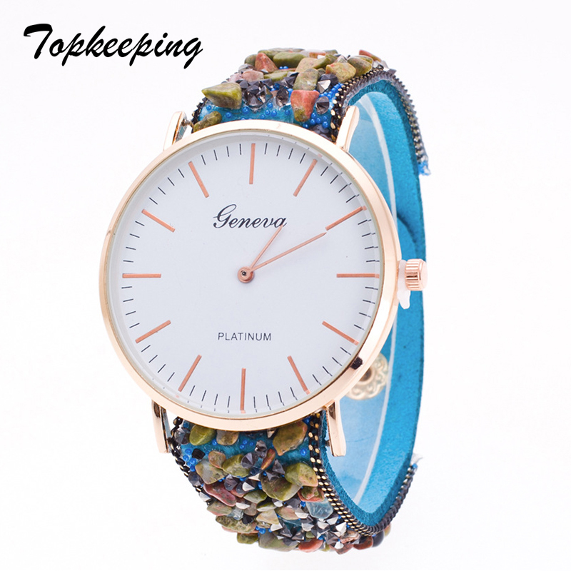 Topkeeping Brand New Women Watches Pulsera de piedra natural Geneva - Relojes para mujeres