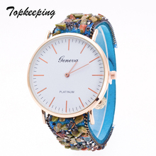 Topkeeping Brand New Women Watches Pulsera de piedra natural Geneva Watch Vintage Luxury Shiny Rhinestone Girls Quartz Relojes de pulsera
