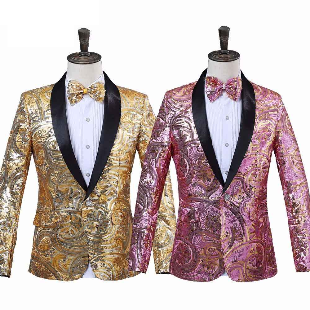 Mens Pink Gold Flower Sequins Blazer One Button Slim Fit Man Formal Wedding DJ Club Stage Performance Suit Jacket With Bow Tie