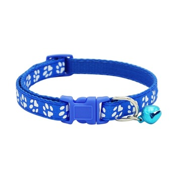 Pet Collar Dog Cat Pet Accessories Footprint Safety Adjustable Nylon Leash Collars With Bell Pet Accessories
