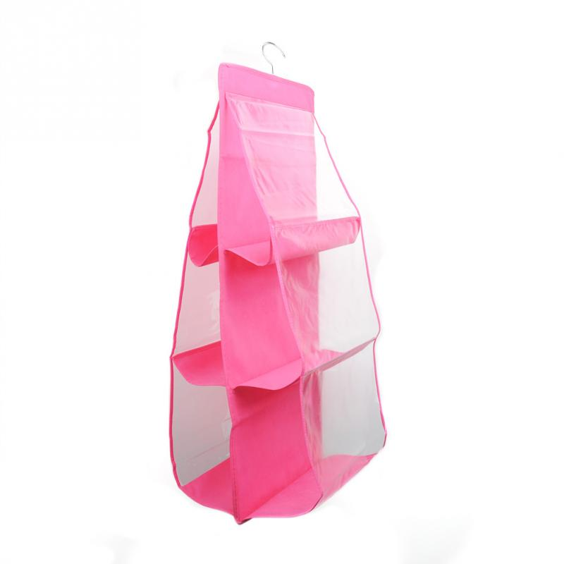 6 Pocket Hanging Organizer Bag Wardrobe Closet Transparent Storage Bag Door Wall Clear Sundry Bags Portable Folding Hanger Pouch in Storage Bags from Home Garden
