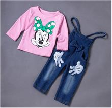 New Child Ladies Minnie Informal Clothes Units Children Spring Autumn Character Lengthy Sleeve Shirt +Suspenders Pants Go well with Kids Set