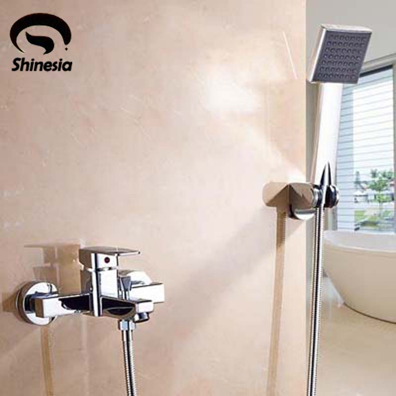 Contemporary Solid Brass Bathroom Shower Faucet Single Handle Mixer Tap with Hand Shower Chrome Polished