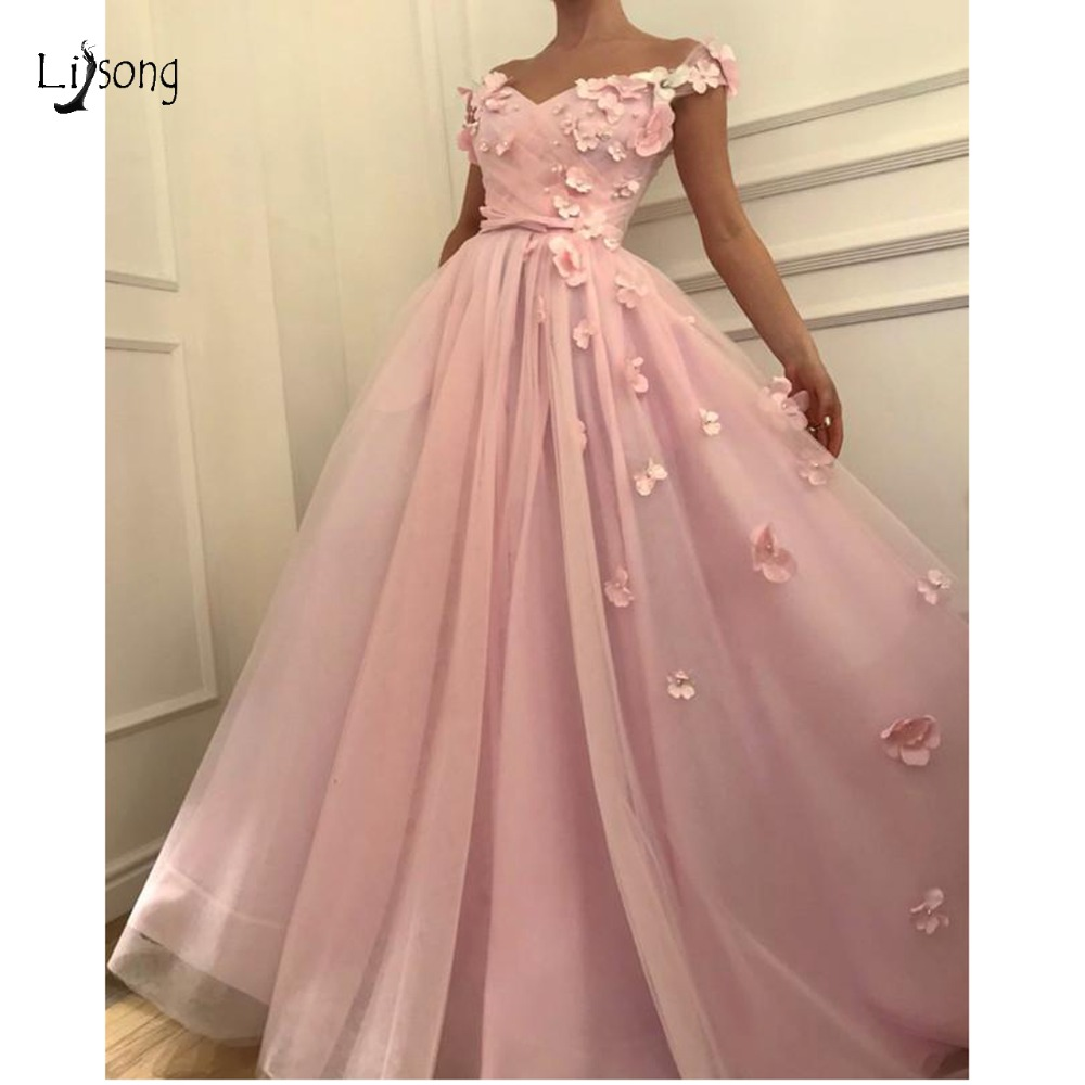 Blush Pink 3D Flower A-line Long   Prom     Dresses   Pearls Formal Party   Dress   Plus Size Lace Up Long   Prom   Gowns Custom Made 2019