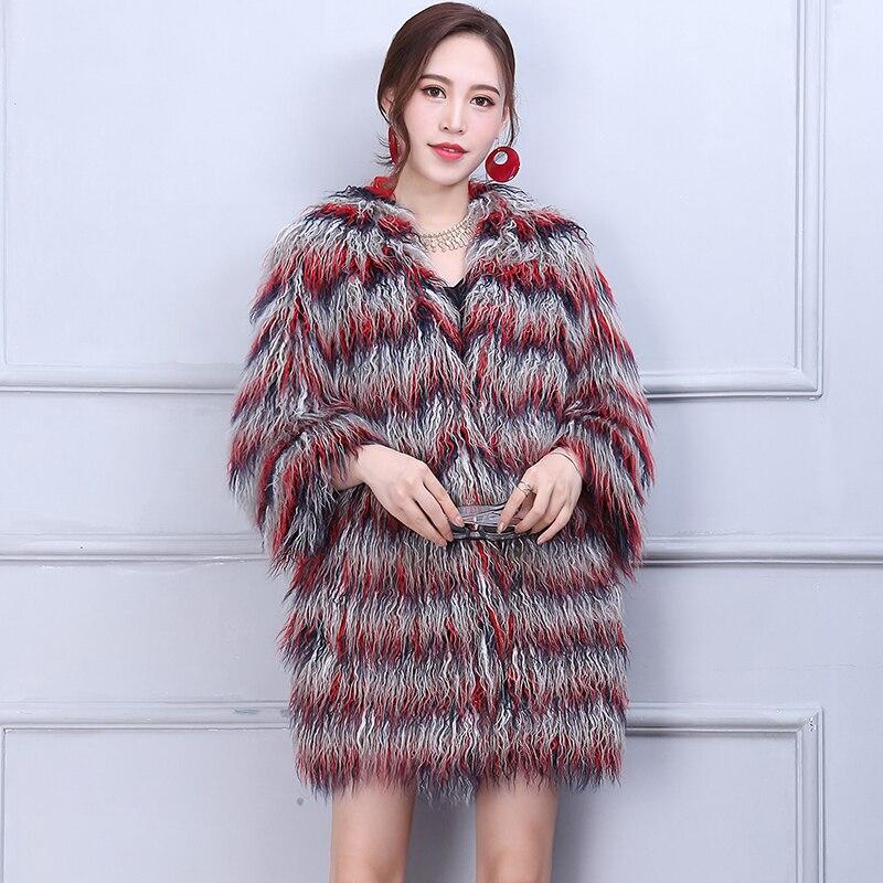 e881bbd623b06 Nerazzurri Winter Faux Fur Jacket Women 2018 Fashion Multicolor Elegant  Shaggy Furry Female Fake Fur Coats Plus Size 4xl 5xl 6xl