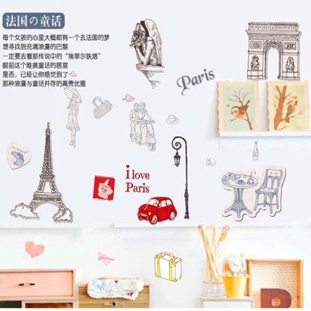 Цитата я люблю париж DIY эйфелева башня стены наклейки надписи искусство домой росписи свадьбы гостиной спальня украшение плакат