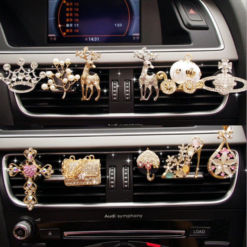 MR TEA New Diamond Flower Deer Crown Cross Car Styling Air Freshener Perfume For Car Air Condition Vent Smell Toys Accrssories
