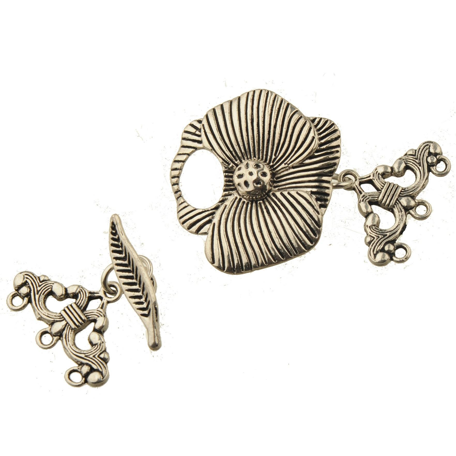 Big Flower Clasps Fit Multi Bracelets DIY Hooks Vintage Silver Lotus Triangle 3/4 Holes Handwork Jewelery Findings Metal 5 Sets