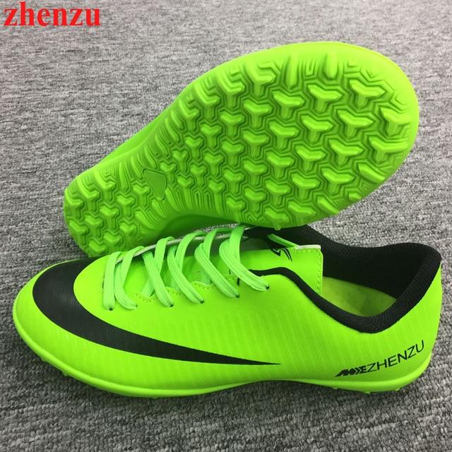 9b6d933ebe2ef Zapatos de Futbol TF Turf zhenzu Suela Transpirable Zapatillas de Deporte  Para Los Hombres Al Aire