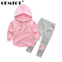 GEMTOT Children s suit 2019 autumn new girls boys striped patch stripes long sleeved hooded sweater