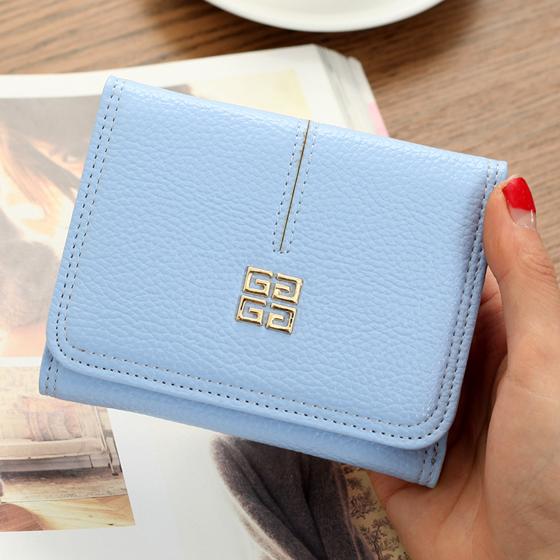 Korean Cute Leather Trifold Slim Mini Wallet Women Small Clutch Female Purse Coin Card Holder Dollar Bag 2017 korean cute anime cat leather trifold hasp mini wallet women small clutch female purse brand coin card holder dollar price